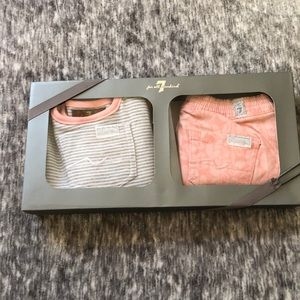 New 7 for all mankind baby set jeans bib shirt 6-9